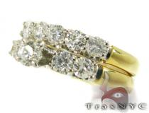 Yellow Gold Round Solitaire Ring Set ダイヤモンド 婚約 結婚指輪