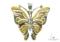 Prong Diamond Butterfly Silver Pendant 37185 シルバーチャーム