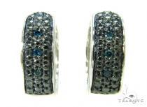 Prong Diamond Silver Hoop Earrings 37258 Metal