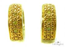Prong Diamond Silver Hoop Earrings 37259 Metal