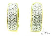 Prong Diamond Silver Hoop Earrings 37260 Metal