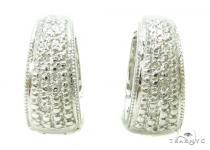 Prong Diamond Silver Hoop Earrings 37262 Metal