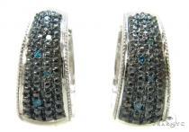 Prong Diamond Silver Hoop Earrings 37263 Metal