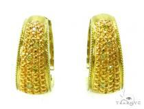 Prong Diamond Silver Hoop Earrings 37268 Metal