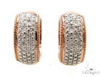 Prong Diamond Silver Hoop Earrings 37269 Metal