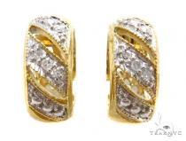 Prong Diamond Silver Hoop Earrings 37273 Metal