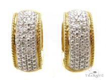 Prong Diamond Hoop Silver Earrings 37274 レディース シルバーイヤリング