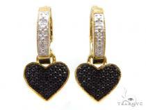 Prong Diamond Silver Hoop Silver Earrings 37277 Metal