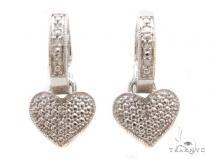 Prong Diamond Silver Hoop Silver Earrings 37279 Metal