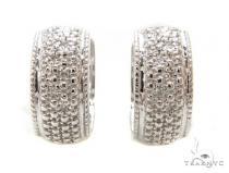 Prong Diamond Silver Hoop Silver Earrings 37280 Metal