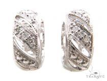 Prong Diamond Silver Hoop Silver Earrings 37281 Metal
