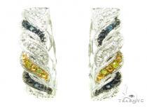 Prong Diamond Hoop Silver Earrings 37303 Style