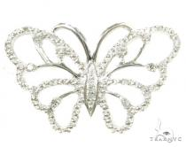 Prong Diamond Butterfly Silver Pendant 37332 シルバーチャーム