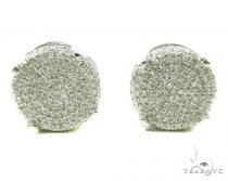 Prong Diamond Silver Earrings 37824 Metal
