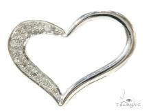 Prong Diamond Heart Silver Pendant 37848 Style