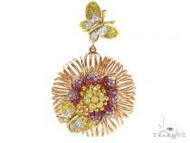 Flower and Butterflies Colored Sapphire & Diamond Pendant 38022 ジェムストーン ペンダント