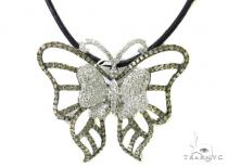 Prong Diamond Butterfly Leather Necklace Diamond