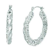 Silver Diamond Cut Oval Type Reverseable Hoop Earring Metal
