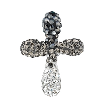 Silver Fancy Cross Pendant with Black Faded Into White Crystal Style
