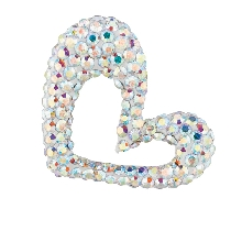 Silver Open Heart Pendant with Multi-Color Crystal Metal