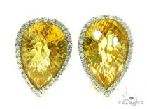 Pear cut Citrine & Prong Diamond Earrings 39268 ジェムストーンイヤリング