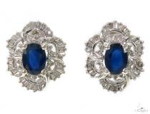 Sapphire & Prong Diamond Earrings 39424 Stone
