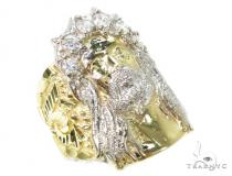 CZ 10k Gold Jesus Ring 39567 Mens Gold Rings