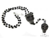 Silver Black Skull Rosary Chain-40009 Silver Chains
