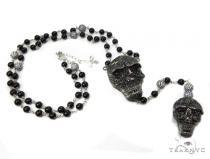 Silver Black Skull Rosary Chain-40009 Silver
