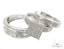 Diamond Couple Silver Ring Set 40216 Anniversary/Fashion