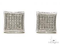 Prong Diamond Silver Earrings 40259 Metal