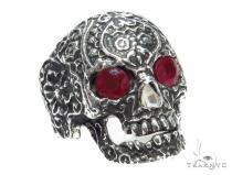 Skull Bezel Ruby Silver Ring 41504 メンズ シルバー リング