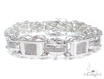 Prong Diamond Sterling Silver Bracelet 41779 Silver