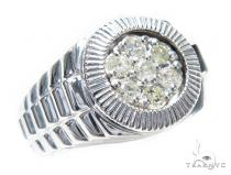 Prong Diamond Silver Ring 41988 Mens Silver Rings