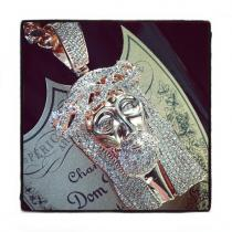 Custom Prong Diamond Rose Gold Jesus Pendant ダイヤモンド ジーザス ペンダント