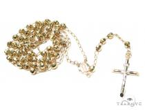 Cross Gold Rosary Chain 30 Inches 5mm 12.4 Grams 42460 Gold Chains