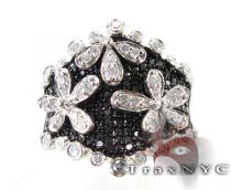 Black and White Diamond Flower Ring Anniversary/Fashion