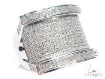 Prong Diamond Silver Ring 42812 Mens Silver Rings