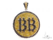 BB Prong Diamond Sterling Silver Pendant 43599 Sterling Silver Pendants