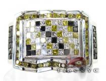 Canary and Black Checkered Ring Colored Diamond Rings