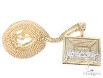 10k Yellow Gold Cuban Pendant Chain Set 44258 Gold