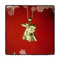 10k Yellow Gold Jesus Cross Cuban Chain 44189 Gold