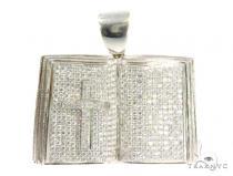 Prong Diamond Cross Book Pendant 44378 Metal