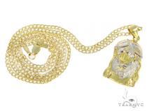 10k Yellow Gold Jesus Cuban Chain Set 44406 Style