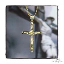 10k Yellow Gold Jesus Cross Cuban Chain Set 44423 Gold