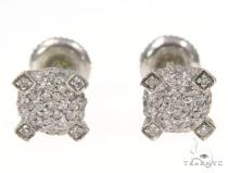 Prong Diamond Silver Earrings 44985 Stone