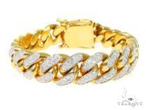 14K Yellow Gold Diamond Cuban Bracelet 45367 メンズ ダイヤモンド ブレスレット