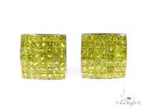 Invisible Canary Color Diamond Earrings 45379 Stone