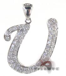 Frozen U Pendant Diamond Initial Pendants
