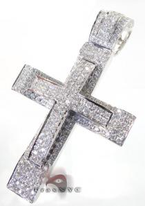 White Gold Dual Cross Mens Diamond Cross